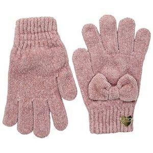 Pink Knit Betsy Johnson Chenille Gloves